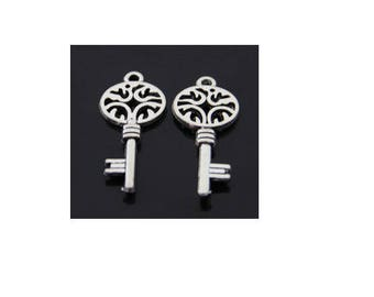 SET of 6 key (C09) silver colored key charms