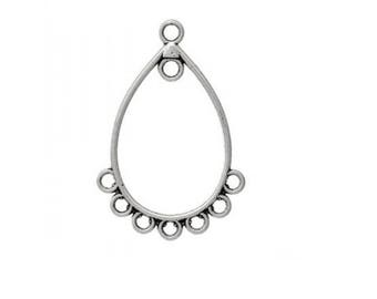 Set of 10 charms connector 7 holes (E01) Silver Earring