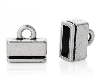 SET of 10 tips inside 9 * 3mm color Silver (S40)