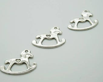 Set of 3 charms silver heart (D35) rocking horse toy