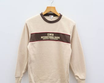 Vintage EDWIN International Basic Small Spell Brown Pullover Sweater Sweatshirt Size M
