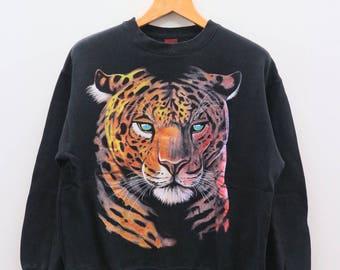 Vintage FASHION VICTIM Tiger Animal Black Pullover Sweater Sweatshirt Size L