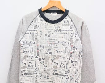 Vintage MINNIE MOUSE Gray Long Sleeve Round Neck Gray Tee T Shirt Size L