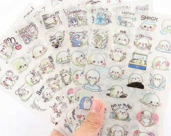 6 Sheets Kawaii Mamegoma Cute Baby Seal Decorative Stickers ~ Cartoon Stickers, Marine Life, Stationery, DIY, Scrapbooking, Funny Stickers