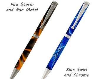 Custom Made Fancy Slimline Wood & Acrylic Pens