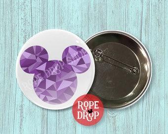 "Purple Geometric Mickey Mouse Icon - Disney Button - 2.25"""