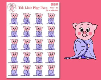 Pig in a Blanket Oinkers - Pig Planner Stickers - Lazy Day Planner Stickers - Blanket Stickers - Snuggle Time Stickers - [Misc 1-30]