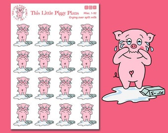 Oinkers Cries Over Spilt Milk - Planner Stickers - Bad Day Stickers - Toddler Stickers - Parenting Stickers -This Little Piggy -[Misc. 1-92]