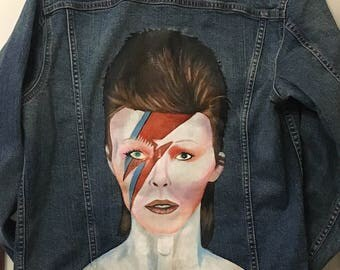 Bowie Hand Painted Denim Jacket - READY FOR DISPATCH - Painted Bowie Portrait