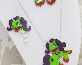 Laser Cut Acrylic Jewellery - Unicorn Necklace - Zombie accessories - Zombiecorn - Earrings - Plastic Brooch