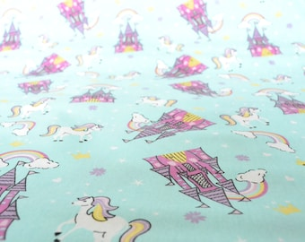 fairytale fabric, rainbow fabric, unicorn fabric, unicorn print,  childrens fabric, teal fabric, girls fabric, Riley Blake fabric Style