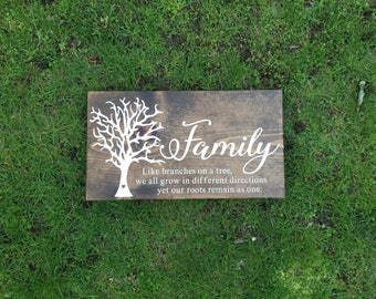 Family Sign | Family Quote Sign | Family Tree Wood Sign | Home Decor Sign