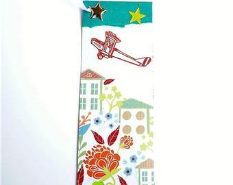 Bookmark ~ Collage ~ Art ~ Airplane ~ Village ~ With Book Clip ~ Original ~ Handmade ~ Not Digital