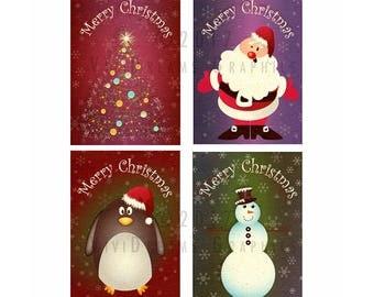 Christmas card set, INSTANT DOWNLOAD, printable files, holiday season, christmas cards, seasonal