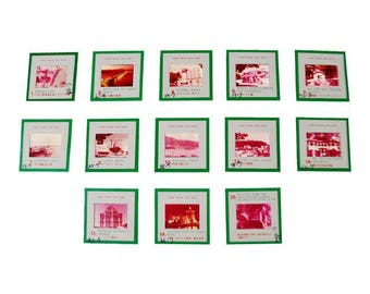 Authentic Vintage Marked Macau Tourism Photography Slides - Set of 13