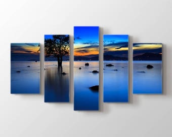 Lonely Tree on Sea at Twilight Wall Art Canvas Print