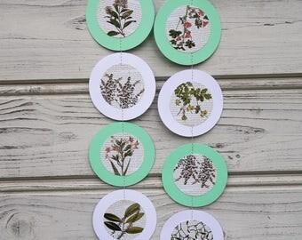 Botanical flower garland, Wedding decor, Tea party garland, Wall decor, Baby shower, Flower garland, Botanical illustration, Flower shower