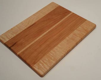 """Cherry and Figured Maple Wood Serving Board / Cheese Board / Cutting Board 10"""" x 12 3/4"""""""
