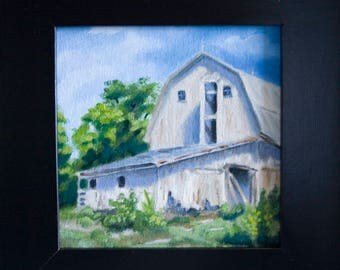 Behind the Barn - 6x6in - Oil Painting By Nicole Blackburn