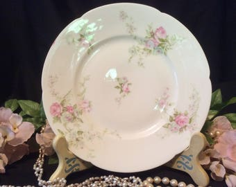 "Limoges France, Theodore Haviland, small salad or dessert Plate, Schlesinger 144 Roses"" Pattern, late 1800's"