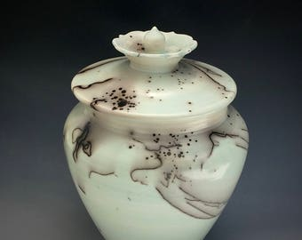 Ceramic Urn, Cremation Urn for Ashes, Celadon Horsehair Urn, Raku Pottery, Burial or Pet Urn, SacredUrns by Susan Fontaine Pottery