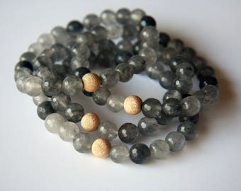 Surya Collection Gray Agate Stretch Bracelet