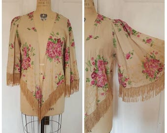 Vintage beige, gold & pink floral short kimono with embroidery and tassel, cropped over piece with sleeves, size Small medium