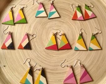 Wooden earrings, geometric wooden painted earrings