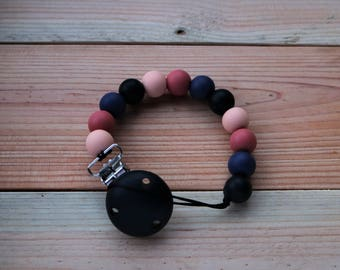 Pacifier clip- Nordic Berries, soother safer, dummy chain, chewable pacifier chain