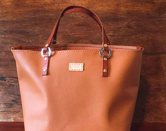 Leather Tote Bag - Handmade