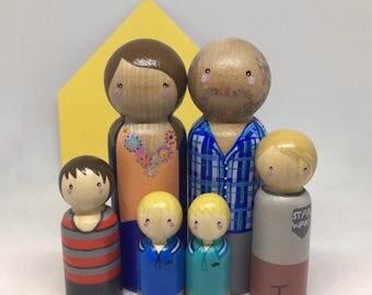 Custom Peg doll Family of 6 // 2 adults, 4 children
