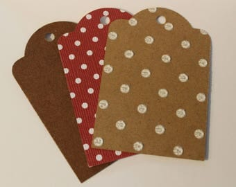 25 Brown and Red Cardstock Gift Tags, Labels