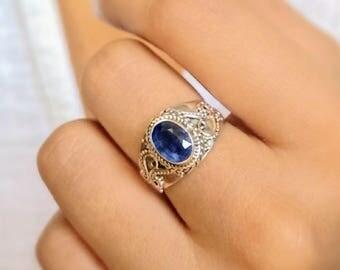 Boho ring - kyanite ring - blue stone ring - gypsy ring - gemstone ring - tribal ring - Bali silver ring - sterling silver - free shipping