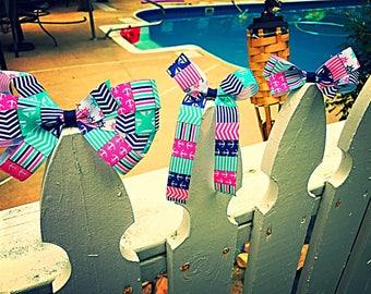 Nautical hairbows, preppy nautical hairbows, blue and pink preppy nautical hairbows, monogrammed nautical hairbows, anchor hairbow