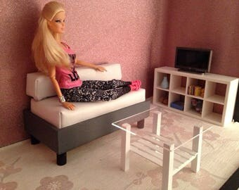 1/6 scale barbie doll furniture living room set for dolls... sofa,table and tv unit/book shelves..
