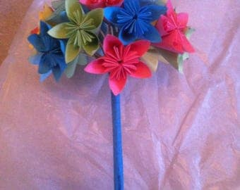 Colourful origami flower bouquet