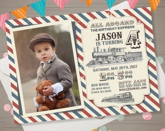 Train Birthday Invitation Vintage Train Invitation Train Party Invite Retro Train Invite Railroad Birthday All Aboard Invitation with Photo