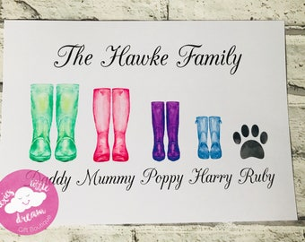 Welly boot print, family print, gift, personalised gift