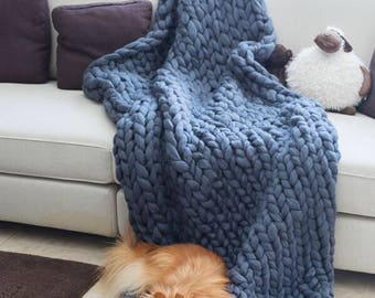 Knit Baby Blanket, Wool Blanket, Knit blanket, Super Chunky Blanket, Merino wool blanket, Giant blanket,Bedding,Christmas gift,Gift for her