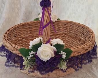 Large Cadbury purple and Ivory card basket