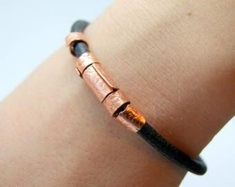 Men's bracelet, Men's leather and copper bracelet, Men's hammered bracelet, Leather bracelet