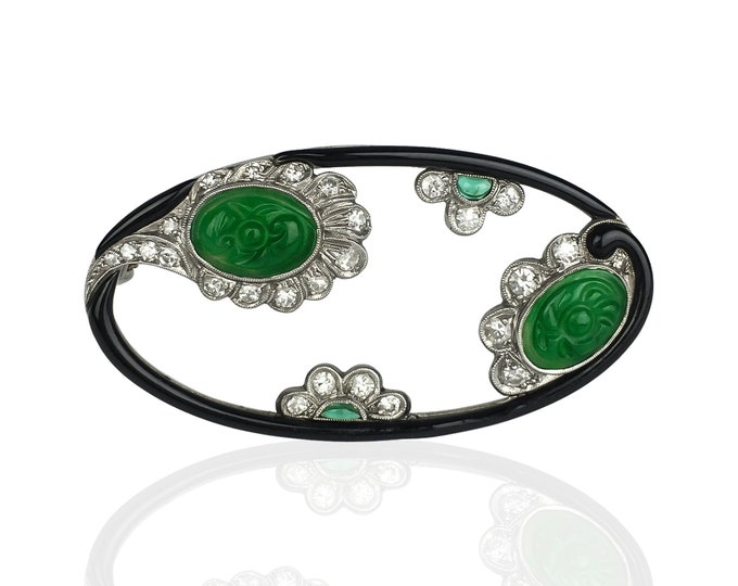 Featured listing image: Platinum Jade, Emerald and Diamond Brooch by William Wise & Son, Certified Jade