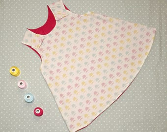 12 months - 1 year - Girls A-Line Dress - Baby Girl Clothing - Pinafore - Reversible Dress