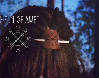 Viking leather hair pin barrette