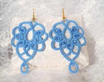 Blue lace tatting earrings