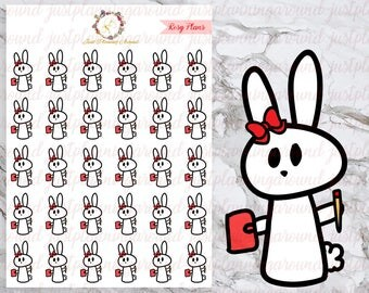 Planner Girl, Rosy the Bunny Stickers, Planner Stickers, Hand Drawn Stickers
