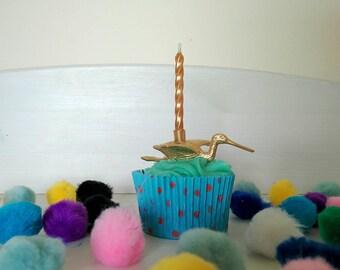 Gold Bird Cake Topper // Metallic Ibis // Bird Party / Ibis Cake Decor // Bird Cake Topper // Gold Bird Theme // Bird Birthday Candle Holder