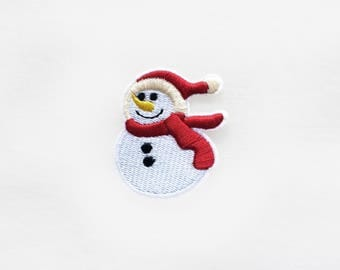 1x SNOWMAN Patch Iron On Embroidered Merry X'mas Christmas Seasons Greeting red white holidays decorations present winter DIY project