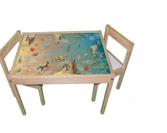 Ocean furniture print sticker- Children's Ikea hack for Latt play table - Furniture not included.