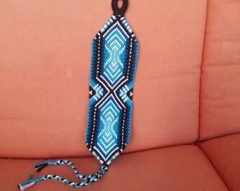 Aquamarine braided bracelet, Knotted bracelet, Handwoven bracelet, String bracelet, Friendship bracelet, Bracelet bresilien,Bohemian style
